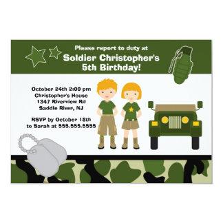 Armee-Tarnungs-Soldat-Kindergeburtstag-Party 12,7 X 17,8 Cm Einladungskarte