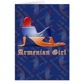 Armenische Mädchen-Silhouette-Flagge Grußkarte