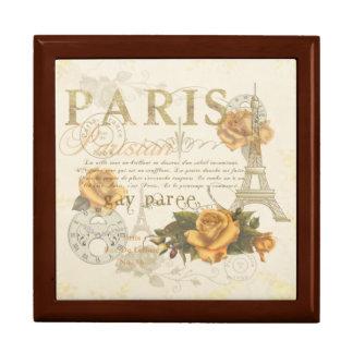 Art-Paris-Rosen-Eiffel-Turm-Kasten KRW Vintager Erinnerungskiste