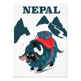 Art-Reiseplakat Nepal-Yak Vintages Fotodruck