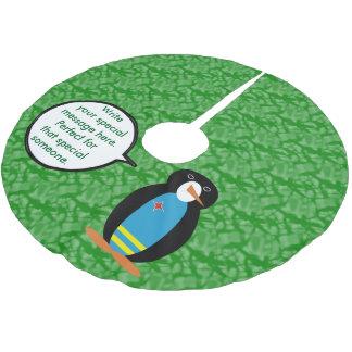 Aruban Flaggen-Feiertags-Herr Penguin Polyester Weihnachtsbaumdecke