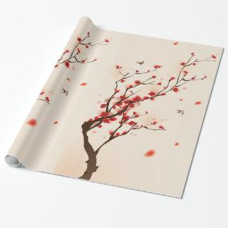 Asiatische Art-Malerei, Pflaumen-Blüte im Frühjahr Geschenkpapier