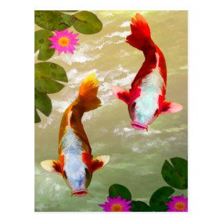 Asiatische Koi Fisch-Karpfen-Digital-Kunst Postkarte
