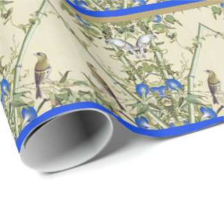 Asiatische Vogel-blaues Geschenkpapier