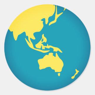 Asiatische Welt Emoji Runder Aufkleber