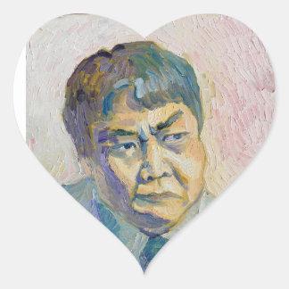 asiatischer Mann Herz-Aufkleber