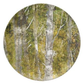 Aspen-Bäume im Fall Melaminteller