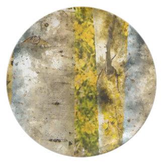 Aspen-Bäume im Herbst Melaminteller