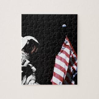 Astronauten-Flaggen-Erdmond-Foto der NASAs Apollo Puzzle