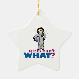 Astronauten-Mädchen Keramik Stern-Ornament