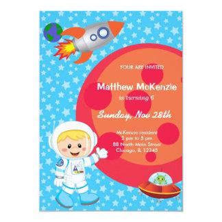 Astronautenjunge Geburtstagsthema 12,7 X 17,8 Cm Einladungskarte