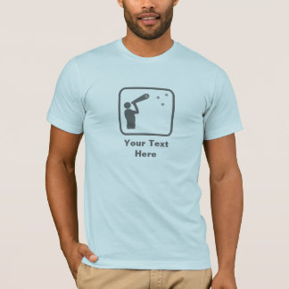 Astronom mit Teleskop (graues Logo) -- Fertigen T-Shirt