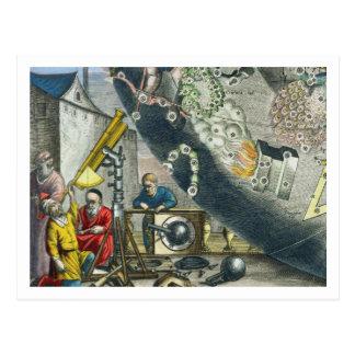 Astronomen, die durch ein Teleskop, Detail Franc Postkarte
