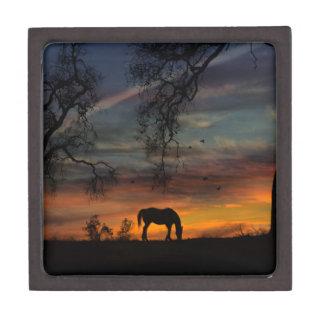 Atemberaubende Pferdefliese und Holz-Kasten Schmuckkiste