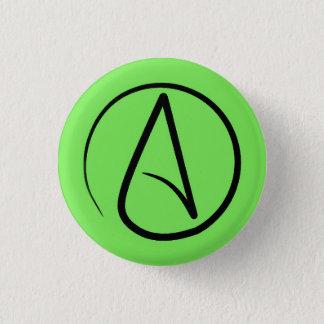 Atheistisches Symbol: Schwarzes auf Limonem Grün Runder Button 3,2 Cm