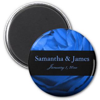 Attraktive blaue Rosen-persönliche Hochzeit Runder Magnet 5,1 Cm