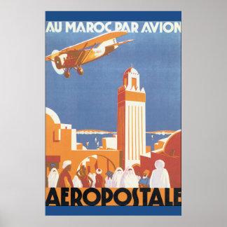 Au Maroc Gleichheit Avion Vintages Reise-Plakat Poster
