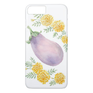 Auberginen-und Ringelblumen-Telefon-Kasten iPhone 8 Plus/7 Plus Hülle