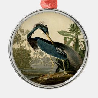 Audubon Louisiana Reiher Rundes Silberfarbenes Ornament