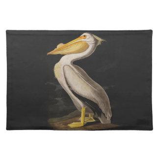 Audubon weißer Pelikan-Vogel-Vintager Druck Tisch Sets
