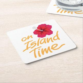 Auf Insel-Zeit-Untersetzer mit Hibiskus Rechteckiger Pappuntersetzer