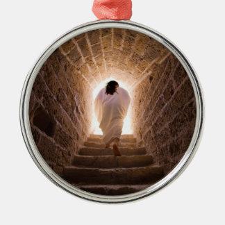 Auferstehung des Jesus Christus Rundes Silberfarbenes Ornament