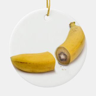 Aufgeteilte Bananen-Kiwi Keramik Ornament