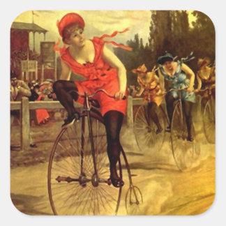 Aufkleber-modernes radfahrendes laufendes Vintages Quadratischer Aufkleber