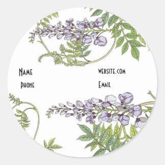 Aufkleber-Vintager Lavendel-weißes Blumen Runder Aufkleber