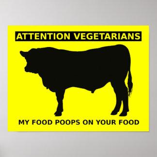 Aufmerksamkeits-Vegetarier-lustige Poster