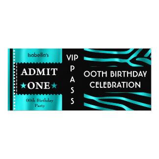 Aufnahme-Geburtstags-Partyzebra-aquamarines blaues 10,2 X 23,5 Cm Einladungskarte