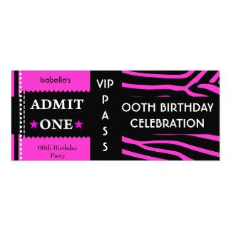 Aufnahme-Geburtstags-Partyzebra-heißes 10,2 X 23,5 Cm Einladungskarte