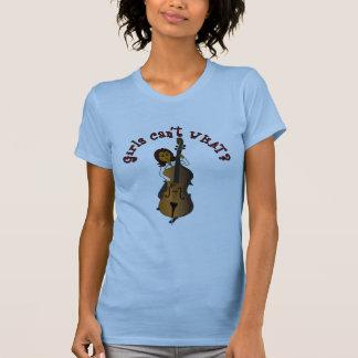 Aufrechte Schnur-Kontrabass-Spieler-Frau T-Shirt