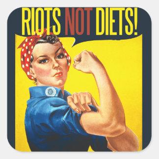 Aufstand-nicht Diäten - Vintager Feminismus Quadratischer Aufkleber