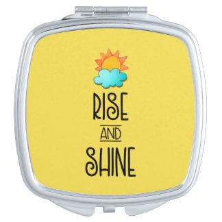 Aufstiegs-und Glanz-Typografie mit Sun und Wolke Taschenspiegel