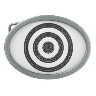 AUGE für Kunst - schwarze Kreise auf Weiß Ovale Gürtelschnallen