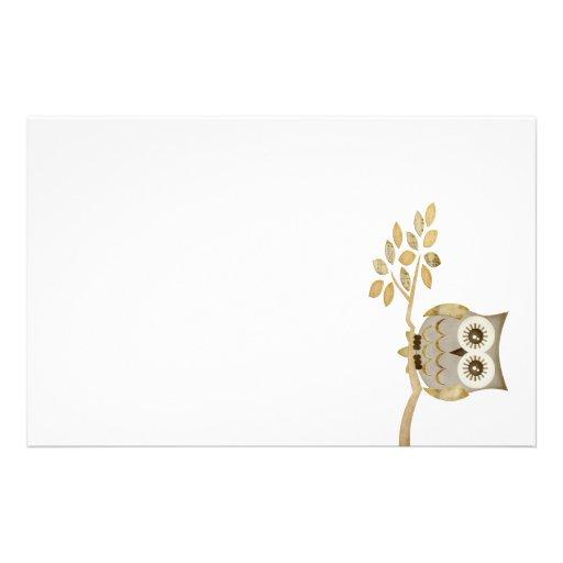 augenen eule im baum briefpapier bedrucktes papier zazzle. Black Bedroom Furniture Sets. Home Design Ideas