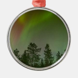 Aurora Borealis Nordlicht-Himmel-Glühen-Schein Rundes Silberfarbenes Ornament