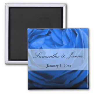 Ausführliche blaue Rosen-persönliche Hochzeit Quadratischer Magnet