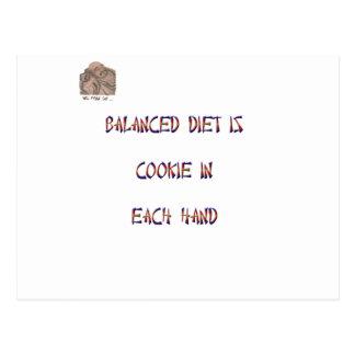 Ausgewogene Diät ist Plätzchen in jeder Hand Postkarte