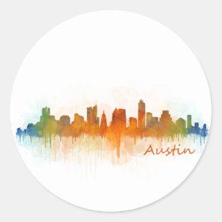 Austin Texas skyline Watercolor v3 Runder Aufkleber