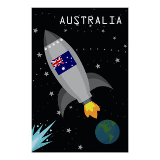 Australien-Flaggen-Rocket-Schiff Poster