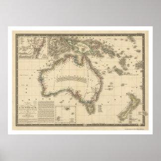 Australien-Karte gezeichnet von Adrien Hubert Brue Poster