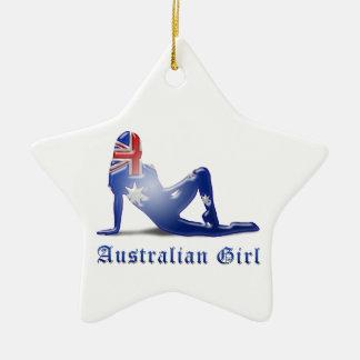 Australische Mädchen-Silhouette-Flagge Keramik Stern-Ornament