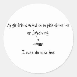 Auswahl Freundin oder Skydiving Runde Sticker