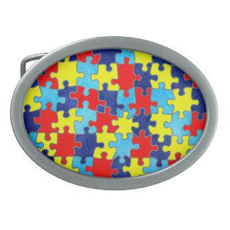 Autismus Bewusstsein-Puzzlespiel durch Shirley Ovale Gürtelschnallen