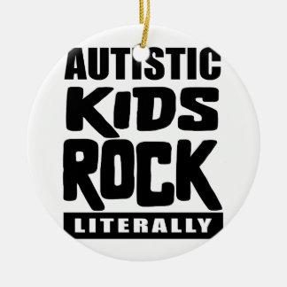 Autismus-Bewusstseins-autistischer Kinderfelsen Keramik Ornament