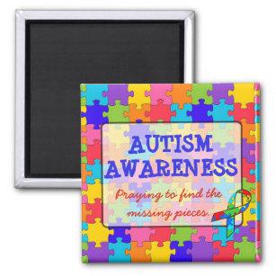 Autismus-Bewusstseins-Band-Puzzlespiel bessert Quadratischer Magnet
