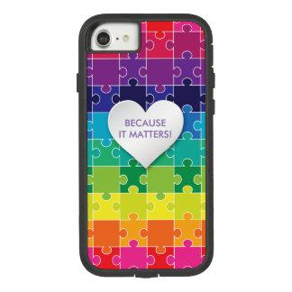 Autismus-Bewusstseins-buntes Puzzlespiel-Stück Case-Mate Tough Extreme iPhone 8/7 Hülle