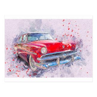 Auto-alter Autoabstrakter Watercolor-Vintager Postkarte